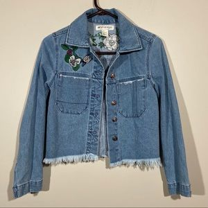 H&M Coachella Jean Jacket Floral Embroidered